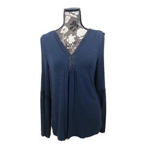 EUC CUPIO blue shoulder cutout & bell sleeve shirt